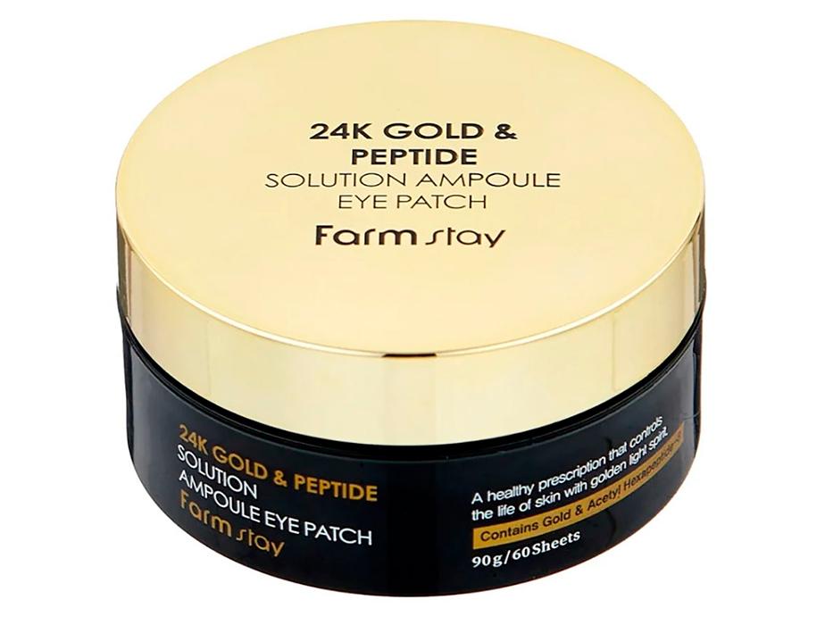 Гидрогелевые патчи под глаза с 24-х каратным золотом и пептидами FarmStay 24K Gold & Peptide Solution Ampoule Eye Patch, 60шт - Фото №2