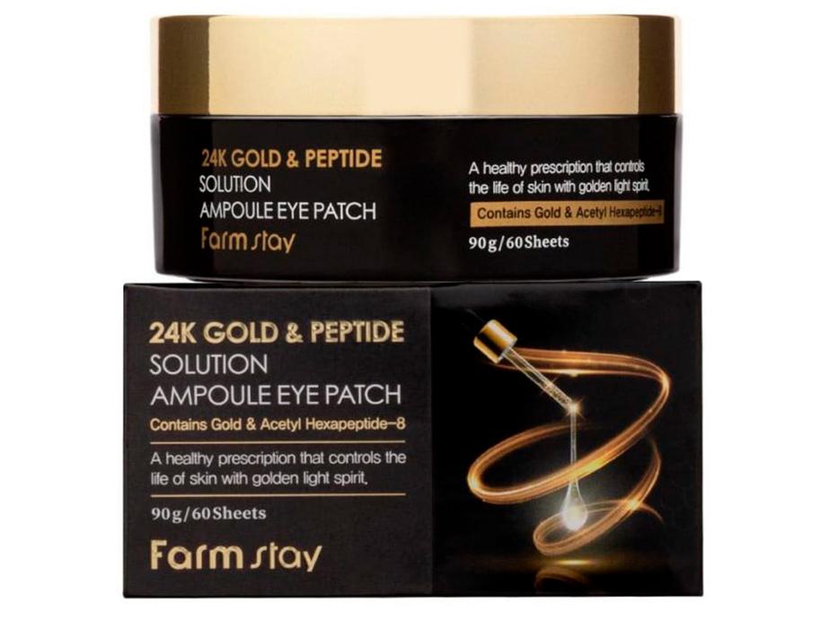 Гидрогелевые патчи под глаза с 24-х каратным золотом и пептидами FarmStay 24K Gold & Peptide Solution Ampoule Eye Patch, 60шт - Фото №4