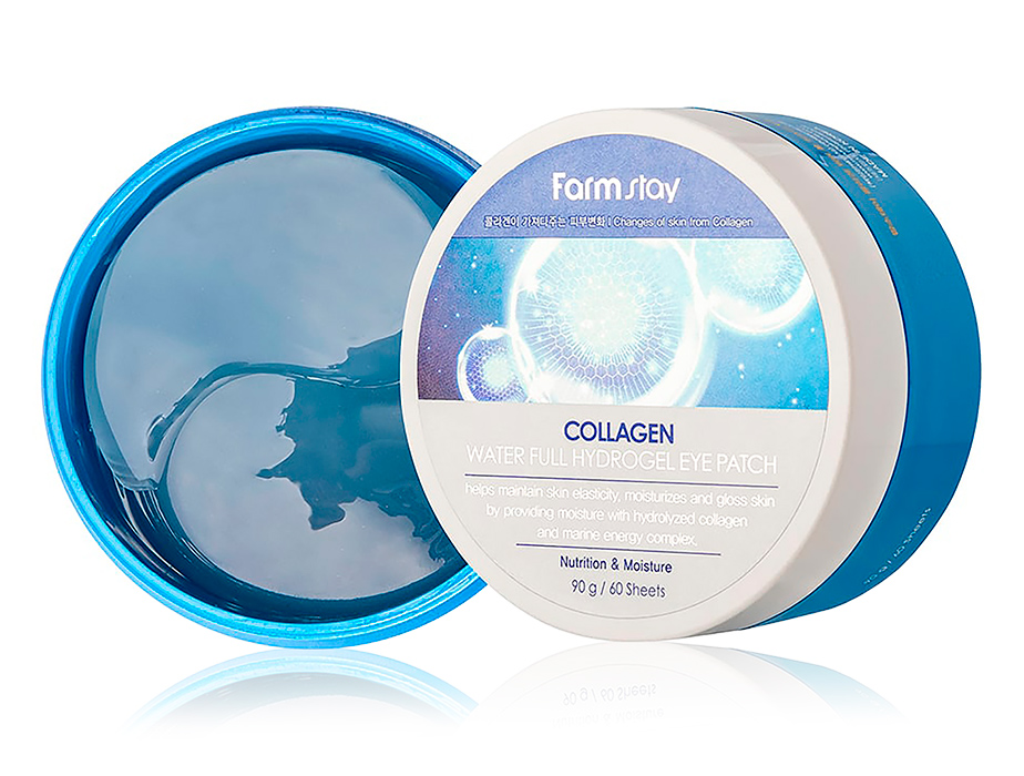 Гидрогелевые патчи под глаза с коллагеном FarmStay Collagen Water Full Hydrogel Eye Patch, 60шт - Фото №1