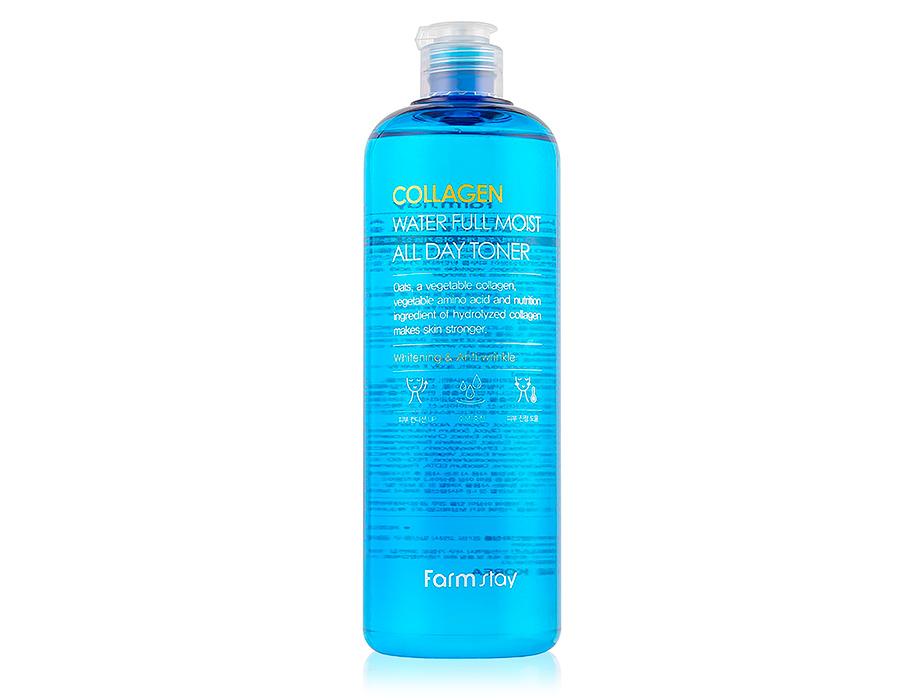 Интенсивно увлажняющий тонер для лица с коллагеном FarmStay Collagen Water Full Moist All Day Toner, 500мл