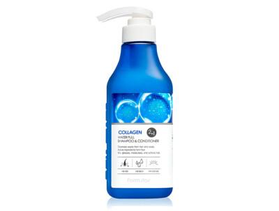 Увлажняющий шампунь-кондиционер для волос с коллагеном FarmStay Collagen Water Full Shampoo & Conditioner, 530мл - Фото №1