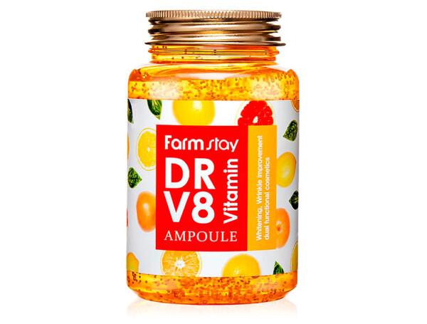 Многофункциональная витаминная сыворотка для лица FarmStay DR.V8 Vitamin Ampoule, 250мл - Фото №1