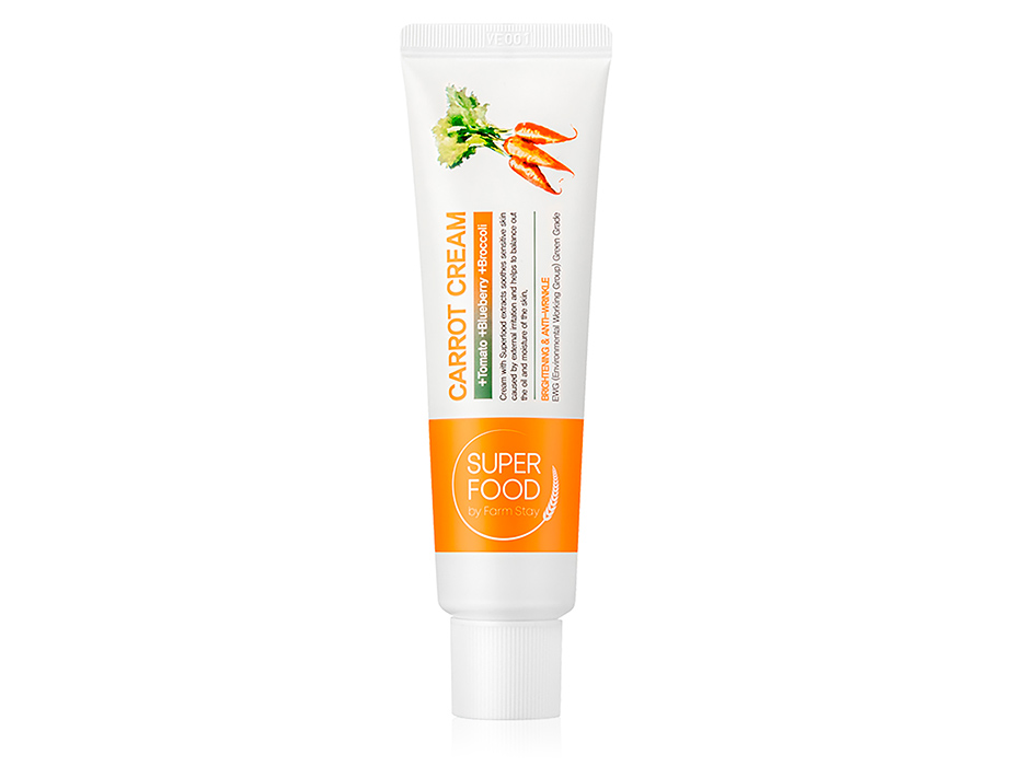 Питательный крем для лица с маслом семян моркови FarmStay Super Food Carrot Cream, 60г - Фото №1