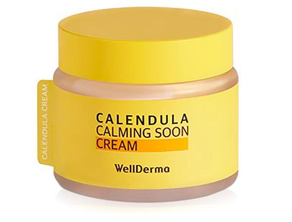 Успокаивающий крем для лица с календулой для чувствительной кожи WellDerma Calendula Calming Soon Cream, 80мл - Фото №1