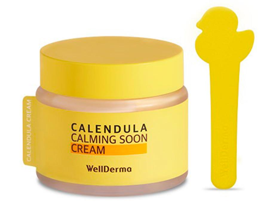 Успокаивающий крем для лица с календулой для чувствительной кожи WellDerma Calendula Calming Soon Cream, 80мл - Фото №2
