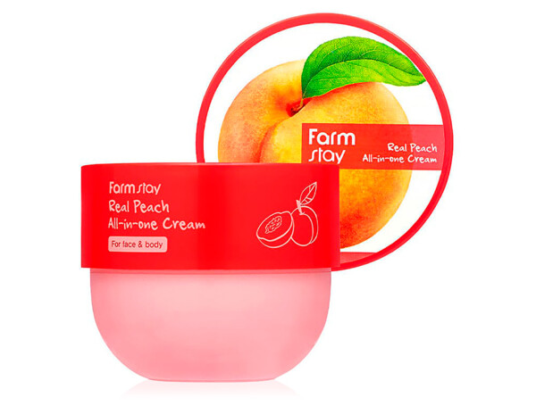 Крем для лица и тела с экстрактом персика FarmStay Real Peach All-In-One Cream, 300мл - Фото №1