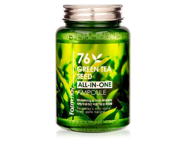 Многофункциональная сыворотка для лица с экстрактом семян зеленого чая FarmStay 76 Green Tea Seed All-In-One Ampoule, 250мл - Фото №1