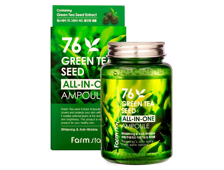Многофункциональная сыворотка для лица с экстрактом семян зеленого чая FarmStay 76 Green Tea Seed All-In-One Ampoule, 250мл - Фото №2