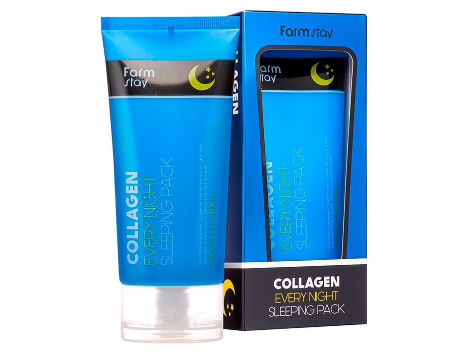 Ночная маска для лица с коллагеном FarmStay Collagen Every Night Sleeping Pack, 120мл - Фото №2
