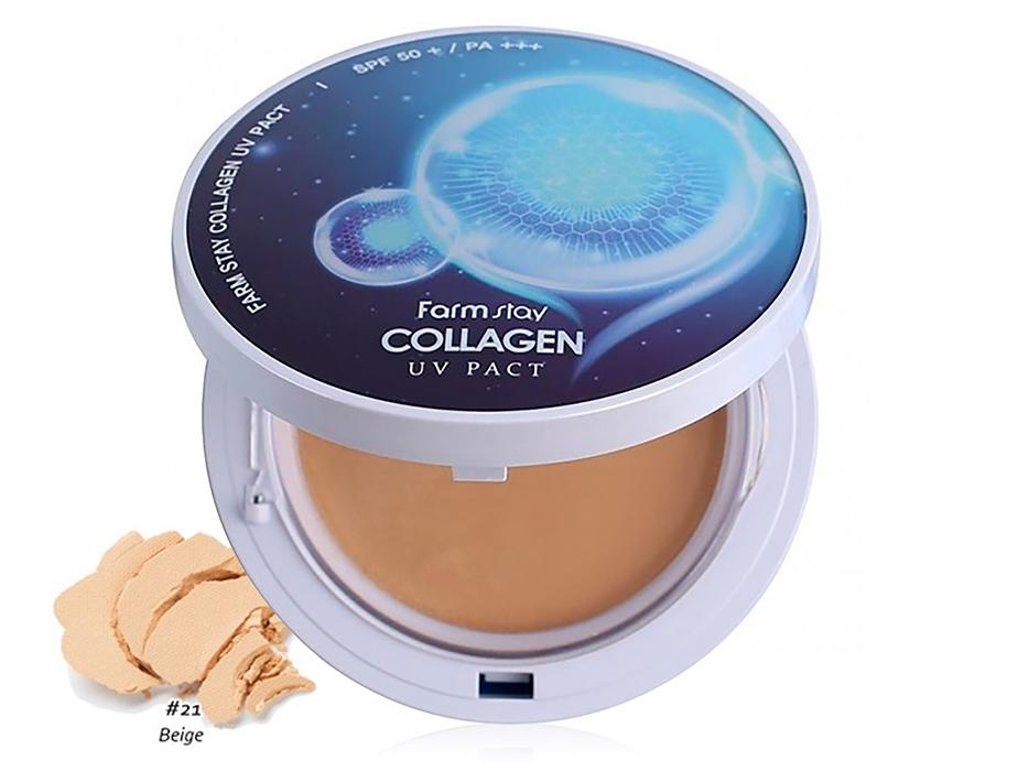 Компактная пудра с коллагеном со сменным блоком FarmStay Collagen UV Pact SPF 50+ PA+++ Beige №21, 2шт по 12г - Фото №1