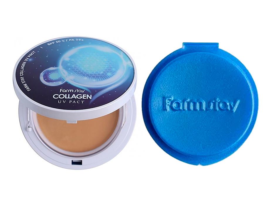 Компактная пудра с коллагеном со сменным блоком FarmStay Collagen UV Pact SPF 50+ PA+++ Beige №21, 2шт по 12г - Фото №2