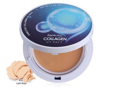 Компактная пудра с коллагеном со сменным блоком FarmStay Collagen UV Pact SPF 50+ PA+++ Light Beige №13, 2шт по 12г - Фото №1