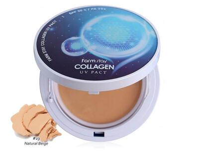 Компактная пудра с коллагеном со сменным блоком FarmStay Collagen UV Pact SPF 50+ PA+++ Natural Beige №23, 2шт по 12г - Фото №1