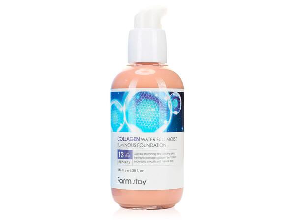 Тональный крем с коллагеном FarmStay Collagen Water Full Moist Luminous Foundation SPF 15 Light Beige №13, 100мл - Фото №1