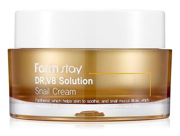 Восстанавливающий крем для лица с улиточным муцином FarmStay DR.V8 Solution Snail Cream, 50мл - Фото №1