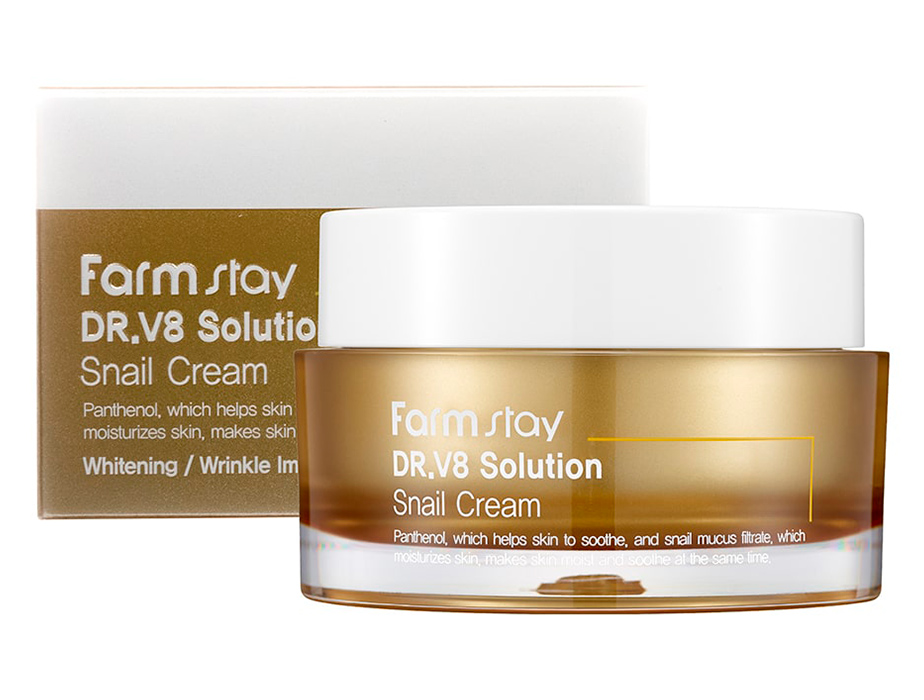 Восстанавливающий крем для лица с улиточным муцином FarmStay DR.V8 Solution Snail Cream, 50мл - Фото №2