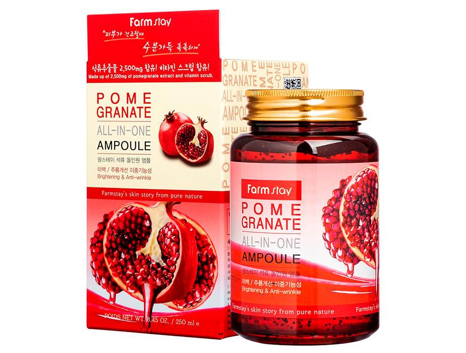 Ампульная сыворотка для лица с экстрактом граната FarmStay Pomegranate All-In-One Ampoule, 250мл - Фото №2