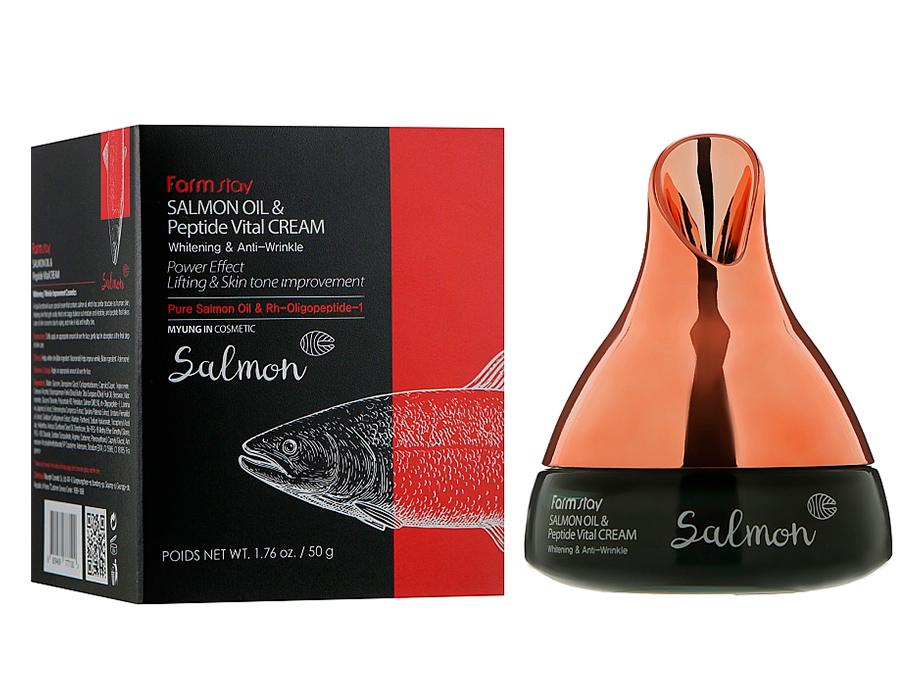 Антивозрастной крем для лица с маслом лосося и пептидами FarmStay Salmon Oil & Peptide Vital Cream, 50г - Фото №3