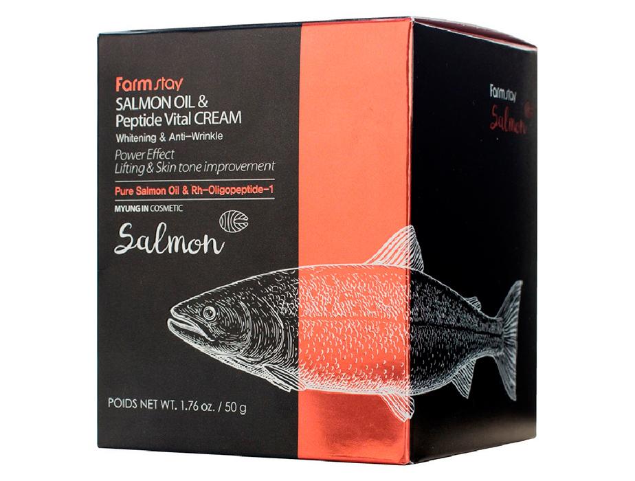Антивозрастной крем для лица с маслом лосося и пептидами FarmStay Salmon Oil & Peptide Vital Cream, 50г - Фото №4