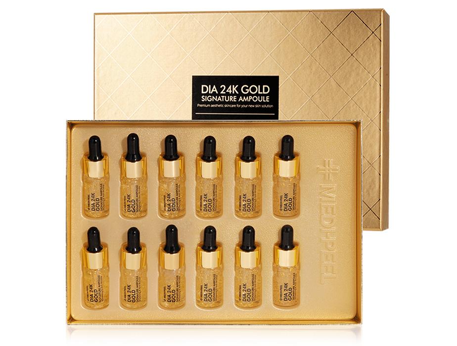 Ампульная сыворотка для лица с золотом и пептидами Medi-Peel Dia 24K Gold Signature Ampoule, 12шт по 10мл - Фото №1