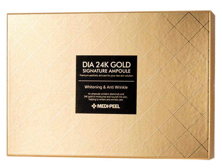 Ампульная сыворотка для лица с золотом и пептидами Medi-Peel Dia 24K Gold Signature Ampoule, 12шт по 10мл - Фото №2