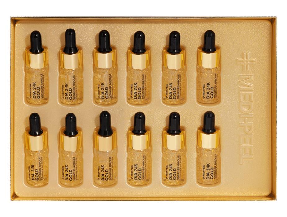 Ампульная сыворотка для лица с золотом и пептидами Medi-Peel Dia 24K Gold Signature Ampoule, 12шт по 10мл - Фото №3
