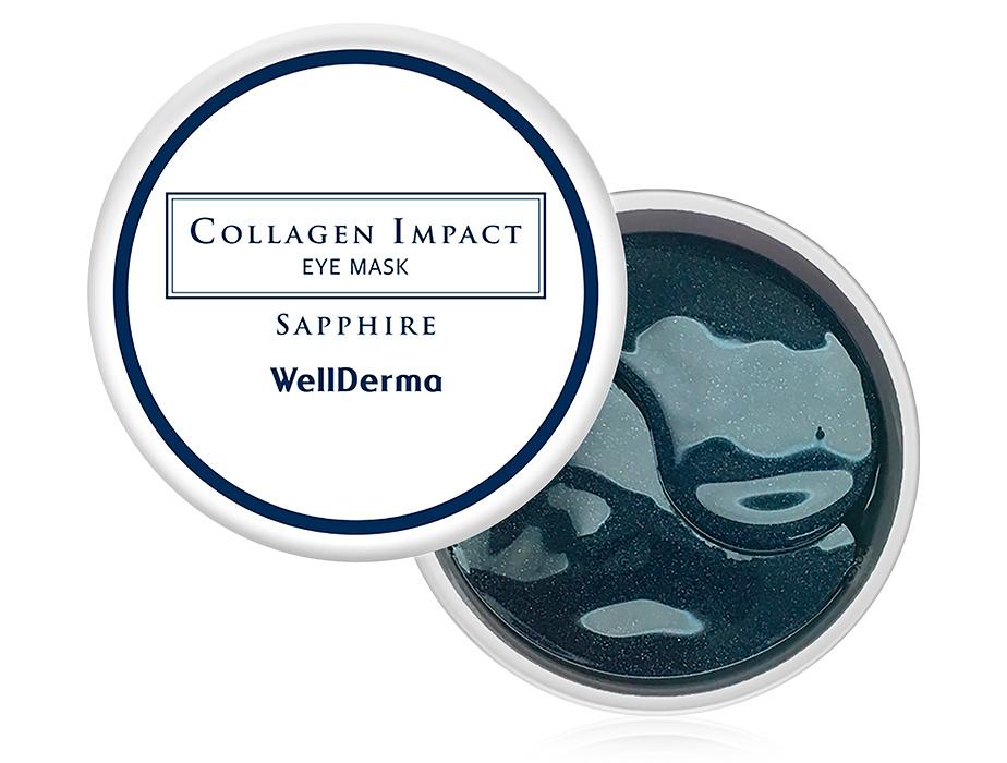 Увлажняющие патчи под глаза с морским коллагеном WellDerma Collagen Impact Sapphire Eye Mask, 60шт - Фото №1