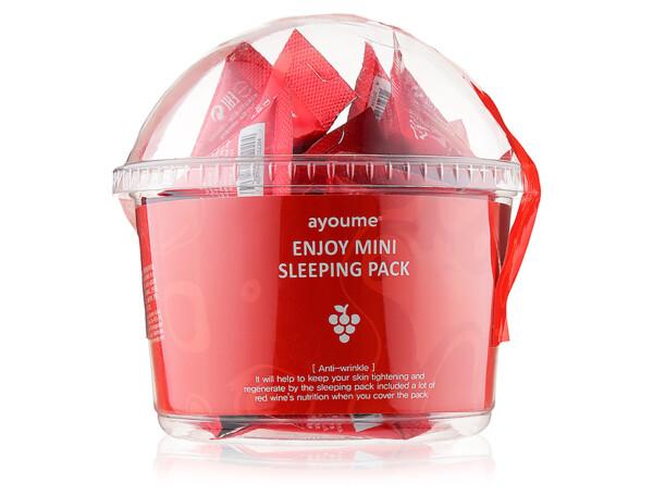 Ночная антивозрастная маска для лица с красным вином Ayoume Enjoy Mini Sleeping Pack, 30шт по 3г - Фото №1