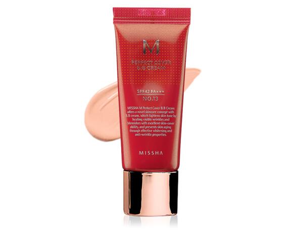 Увлажняющий и матирующий BB крем для лица Missha Perfect Cover BB Cream SPF 42 №13, 20мл - Фото №1