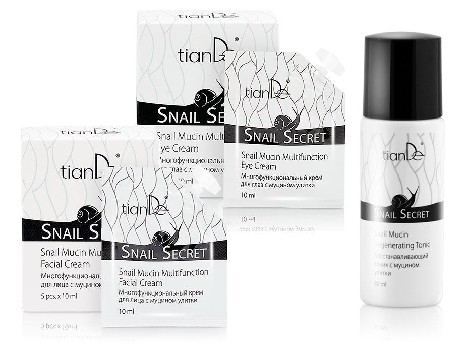 Крем для лица + крем для глаз с муцином улитки TianDe Snail Secret - в Подарок тоник c муцином улитки TianDe Snail Secret