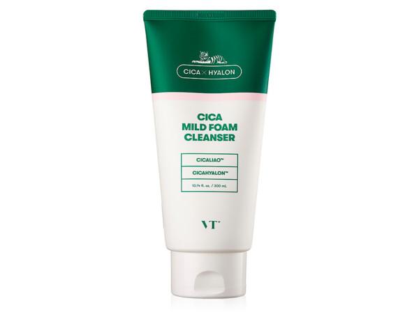 Пенка для чувствительной кожи лица с центеллой VT Cosmetics Cica Mild Foam Cleanser, 300мл - Фото №1