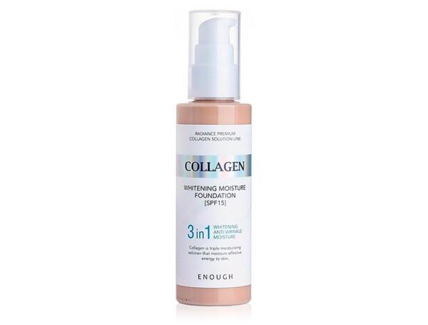 Осветляющий тональный крем для лица с коллагеном Enough Collagen 3 in 1 Whitening Moisture Foundation SPF 15 №21, 100мл - Фото №1