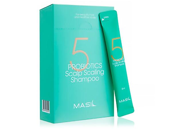 Глубокоочищающий шампунь для волос с пробиотиками Masil 5 Probiotics Scalp Scaling Shampoo, 20шт по 8мл - Фото №1