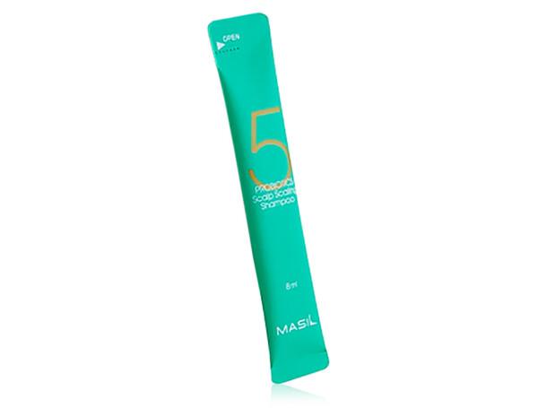 Глубокоочищающий шампунь для волос с пробиотиками Masil 5 Probiotics Scalp Scaling Shampoo, 8мл - Фото №1